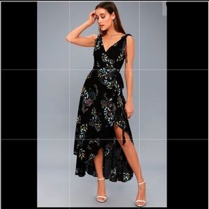 Black floral print wrap dress from Lulus